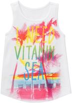 Gymboree White & Yellow 'I Need Vitamin Sea' Graphic Tank - Girls