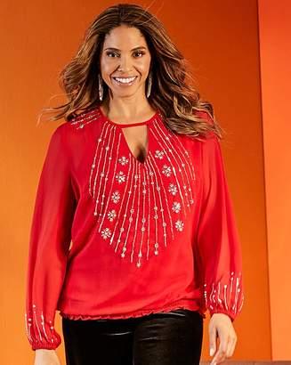 Joanna Hope Light Embellished Red Tunic