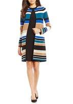 Calvin Klein Petites Engineered Stripe Textured Knit Open Front Long Cardigan