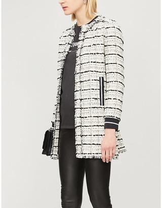 Pinko Baldanzoso frayed contrast-trim cotton-blend coat