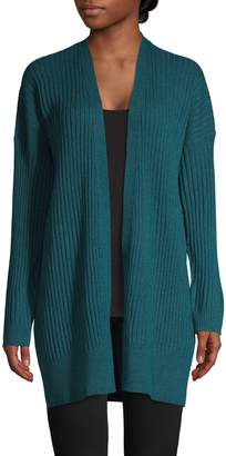 Eileen Fisher Ribbed Open-Front Cashmere Cardigan