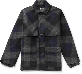Filson Oversized Checked Brushed Wool-flannel Jacket - Blue