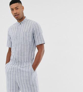 Asos Design DESIGN Tall short boilersuit in seersucker stripe-Blue