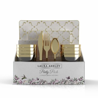 "Laura Ashley 56 Pc Square Coupe/Pattern Party Set for 8 | 10.25"" Dinner 7.5"" Appetizer Plates 