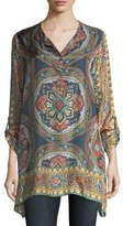 Johnny Was Spezia Long-Sleeve Printed Silk Georgette Tunic, Plus Size