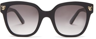 Cartier Panthere De Square Acetate Sunglasses - Black