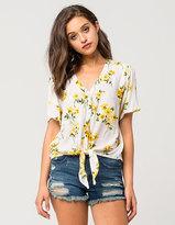 Full Tilt Floral Womens Tie Front Shirt