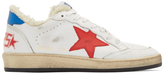 Golden Goose White and Red Shearling Ball Star Sneakers