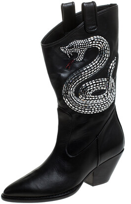 Giuseppe Zanotti Black Snake Embellished Leather Guns 55 Cowboy Boots Size 37
