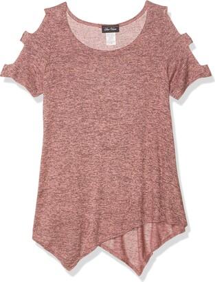 Star Vixen Women's Petite Short Ladder/Bar Sleeve Hanky Hem Brushed Knit Top