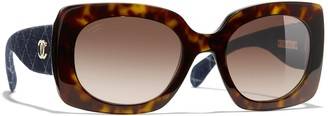 Chanel Rectangular Sunglasses CH5406 Dark Havana/Brown Gradient