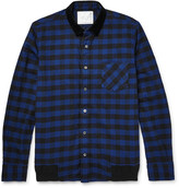 Sacai - Velvet-trimmed Buffalo-checked Cotton Overshirt