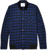 Sacai - Velvet-trimmed Buffalo-checked Cotton Overshirt