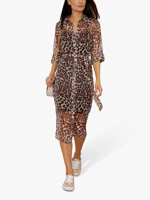 Sosandar Leopard Print Belted Shirt Dress, Multi