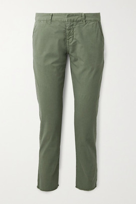 Nili Lotan East Hampton Frayed Stretch-cotton Twill Slim-leg Pants - Army green