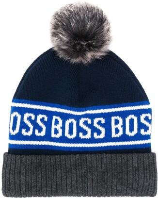 Boss Kids Logo Knit Beanie Hat