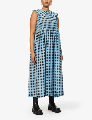 Ganni Checked cotton and silk-blend midi dress