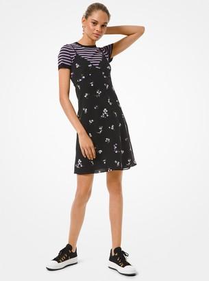 MICHAEL Michael Kors Floral Embroidered Crushed Georgette Slip Dress