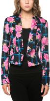 Navy & Pink Floral Plaid Open Blazer