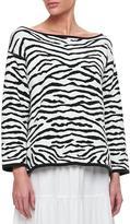 Joan Vass Reversible Animal Print Pullover Sweater, Petite