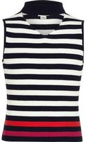 River Island Girls Navy stripe sleeveless choker jumper