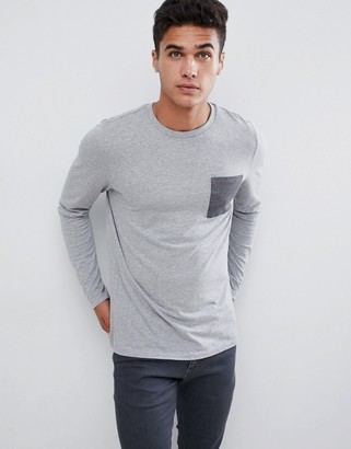 ASOS DESIGN long sleeve t-shirt with contrast pocket in gray marl