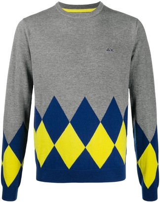 Sun 68 Argyle knit jumper