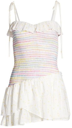 LoveShackFancy Aya Smocked Mini Dress