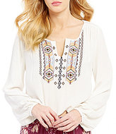 Billabong Dusty Roads Embroidered Woven Crinkle Split V-Neck Long-Sleeve Peasant Top