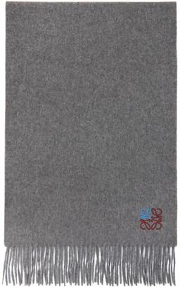 Loewe Grey Cashmere Anagram Scarf