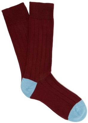 Pantherella Scott Nichol Oxford Ribbed-knit Socks - Burgundy