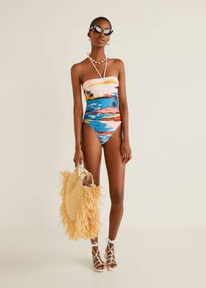 MANGO Tropical print swimsuit blue - M - Women