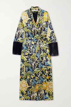 Olivia von Halle Capability Velvet-trimmed Floral-print Silk-satin Robe - Navy