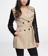 Express (Minus The) Leather Sleeve Ruffled Trench Coat