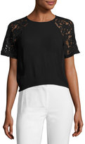 French Connection Taza Semisheer Lace Top, Black