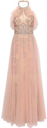 Marchesa Layered Embellished Tulle Halterneck Gown