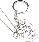 Bling Stars Family Heart Love Silver Pendant Necklace and Keychain Set-Mom Daddy Grandma Grandpa