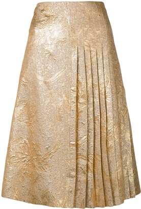 Rochas Brocade Pleated Skirt