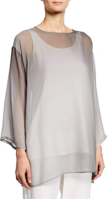 Eileen Fisher Watercolor Sheer Long-Sleeve Tunic