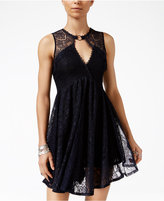 Free People Don't You Dare Lace-Trim Mini Dress
