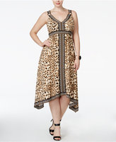 INC International Concepts Plus Size Leopard-Print Fit & Flare Midi Dress, Only at Macy's