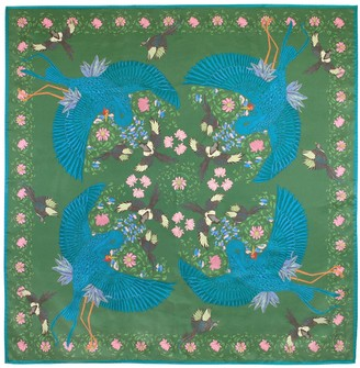 Guananan London Square Silk Scarf Blue Bird Green
