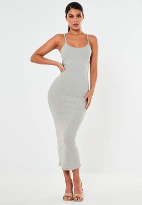 Missguided Grey Ribbed Strappy Bodycon Midi Dress