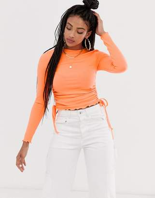 Asos Design DESIGN crew neck fitted top with ruched sides