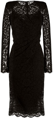 Dolce & Gabbana Ruched Lace Midi Dress