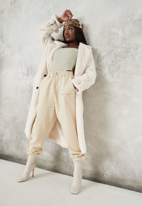 Missguided White Faux Fur Double Breasted Collar Coat