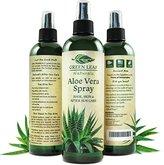 Green Leaf Naturals Organic Aloe Vera Gel Moisturizer Spray for Skin, Hair, Face and Sunburn Relief - Unscented, 8 Ounces