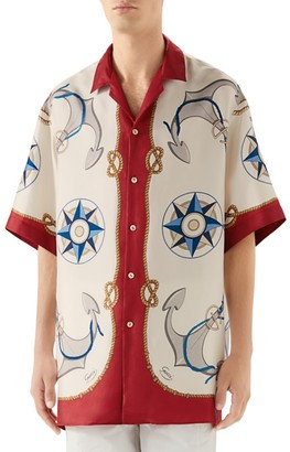 Gucci Oversize Compass Rose Bowling Shirt