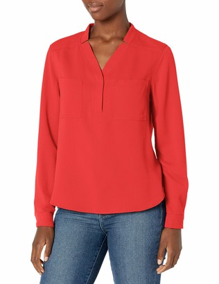 Nine West Women's Long Sleeve Blouse with Patch Pockets