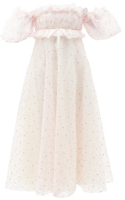 Giambattista Valli Off-the-shoulder Floral-embroidered Tulle Gown - Light Pink